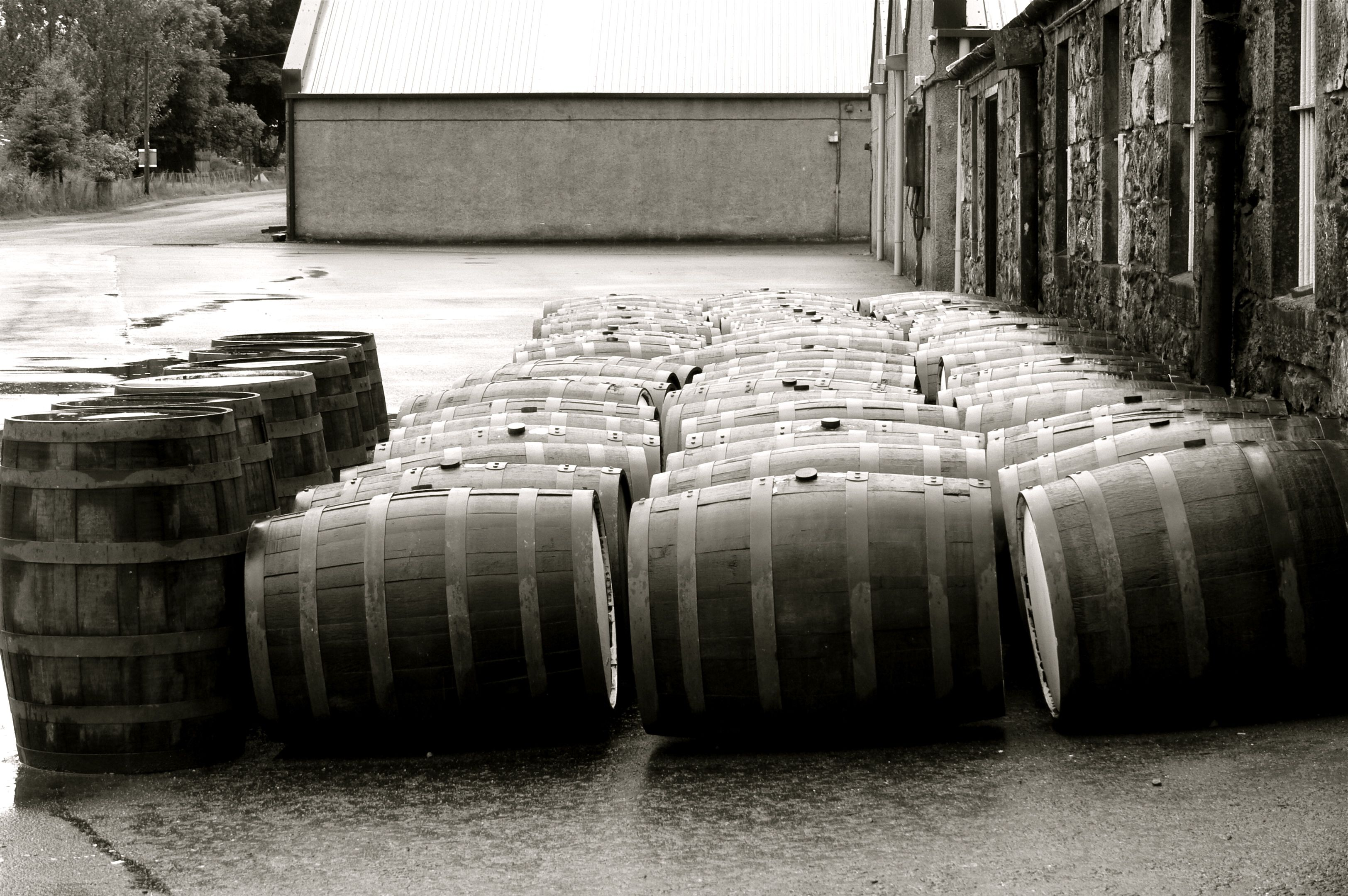 Casks at Balblair distillery.