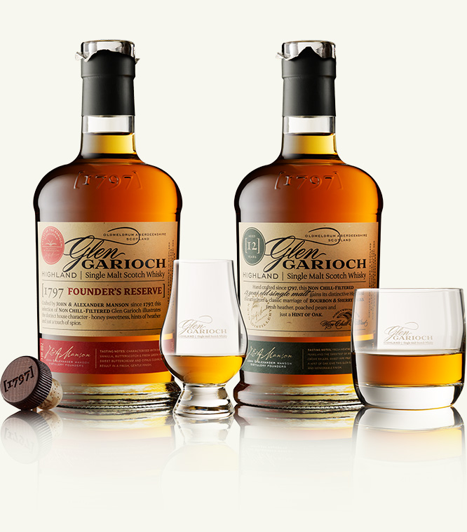 Bottles of Glen Garioch whisky