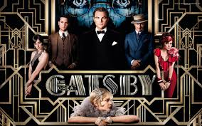 The Gatsby film's cast on an Art Deco style background