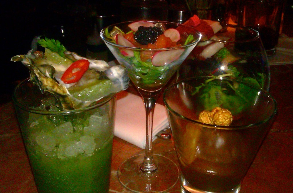 An array of canapes in martini and rocks glasses at The Hutch Club at Quaglino's restaurant