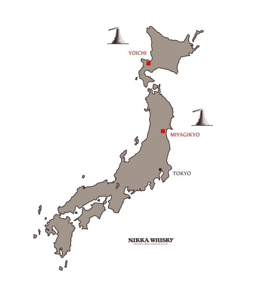 Grey map of north Japan showing where Yoichi and Miyagikyo distilleries are