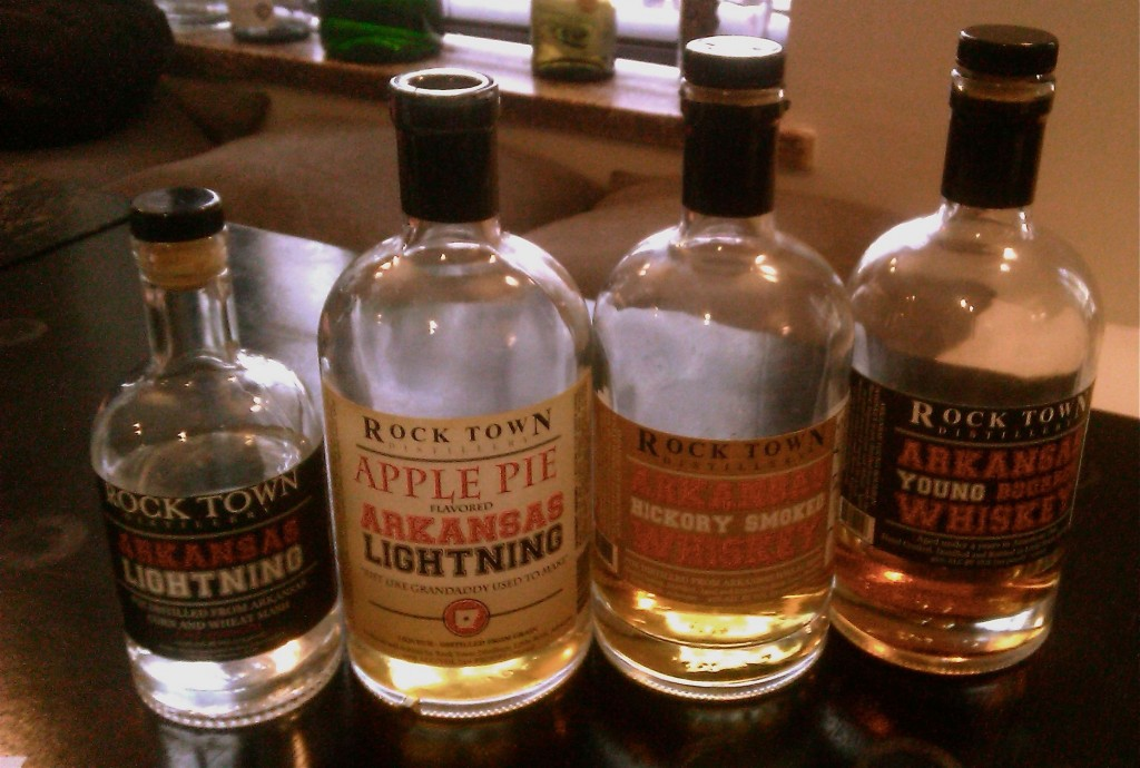 Four bottles of spirits from Rock Town Distillery on table