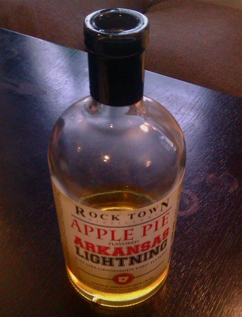 Single bottle of Rock Town Distillery's Apple Pie Lightning