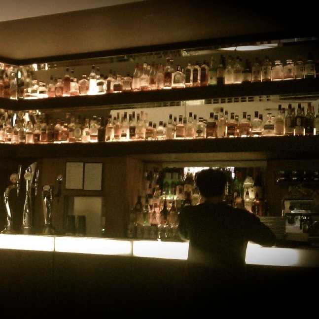 Shelves of whisky bottles at Salt Bar in London