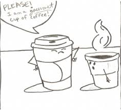 Two cups of cartoon coffees discussing snobbery