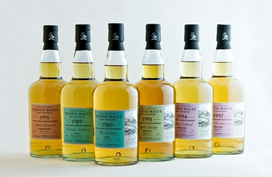 Bottle images of the six single cask whisky releases from Wemyss Malts July 2013
