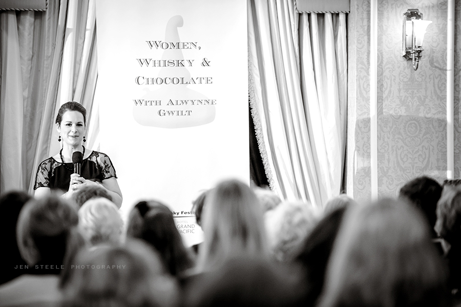 Talking whisky at the Women, Whisky & Chocolate Grand Tasting. Photo courtesy of Jen Steele Photography.
