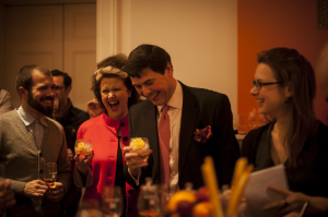Dr Bill Lumsden with guests - including Miss Whisky - at the Companta launch in London.