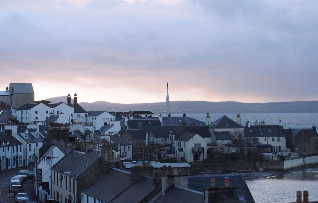 View of Bowmore Distillery from the Bowmore House Hotel.