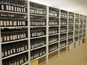 A few of the thousands of bottle samples at G&M headquarters.