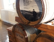 Casks in the visitor's centre at Bruichladdich