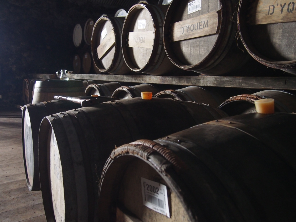Casks in the warehouse at Bruichladdich.