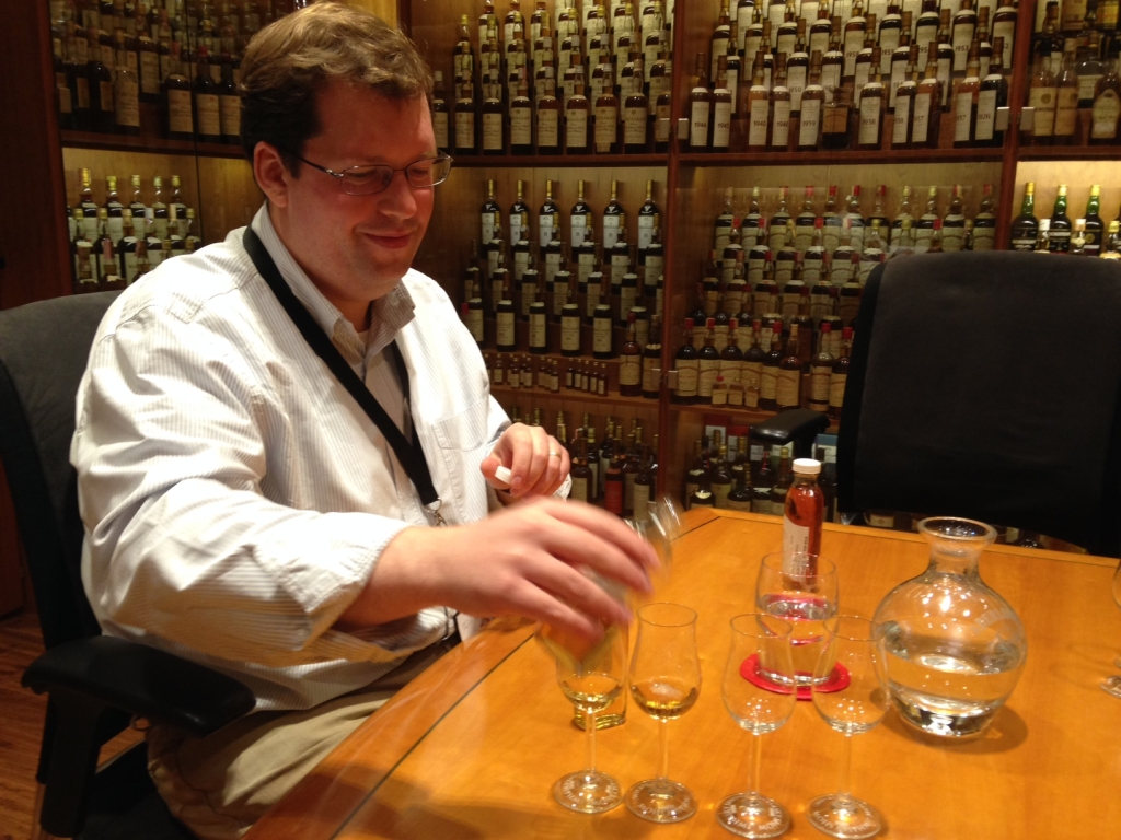 Ollie Chilton, with some of this year's TWE whiskies at Speciality Drinks' London HQ