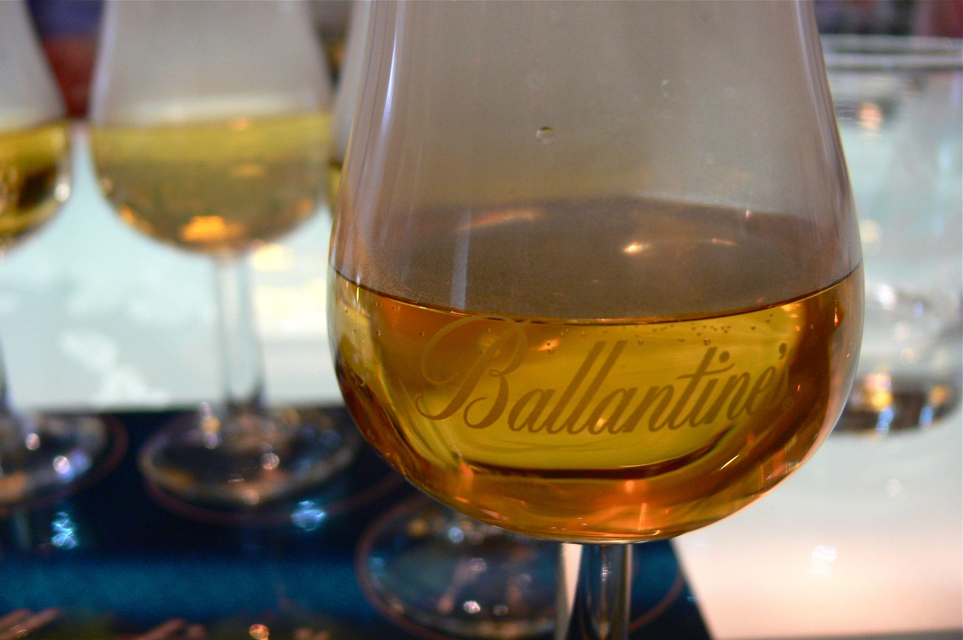 Ballantine's in a glass at Glenburgie distillery