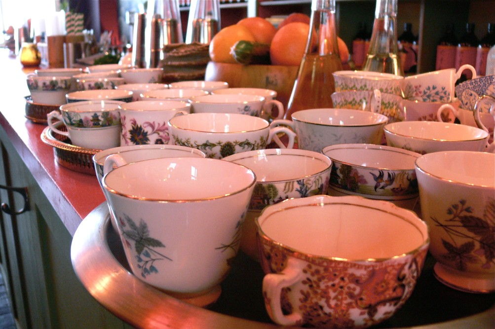 Tea cups at the Marie Curie whisky tea party