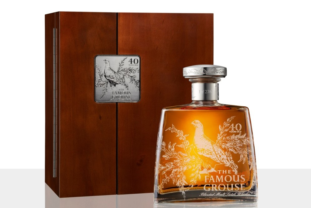 Famous Grouse 40 year old and mahogany box
