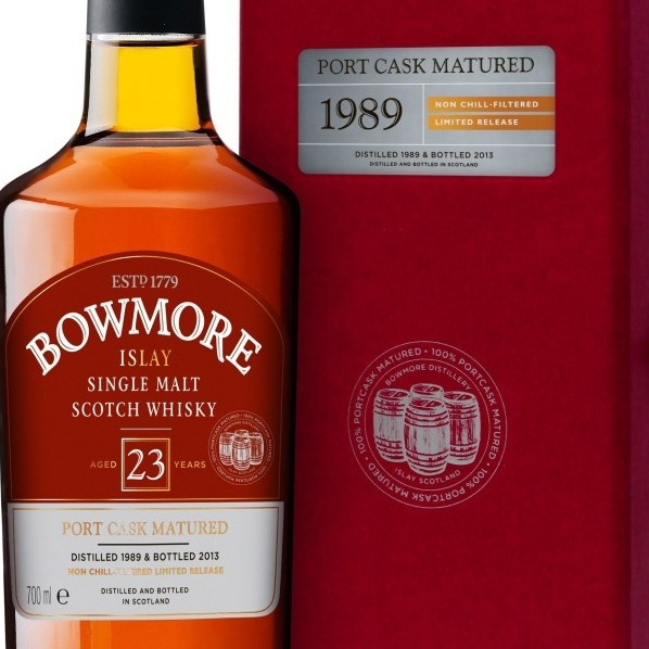 Bowmore Port Matured 23 year old bottle and red box