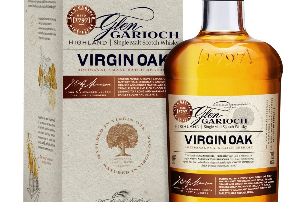 Glen Garioch Virgin Oak bottle in front of and to the right side of the box for the whisky