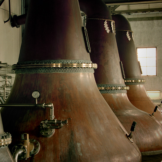 Copper stills from the Yoichi Distillery in Japan